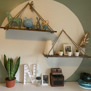 Boho jute floating shelves